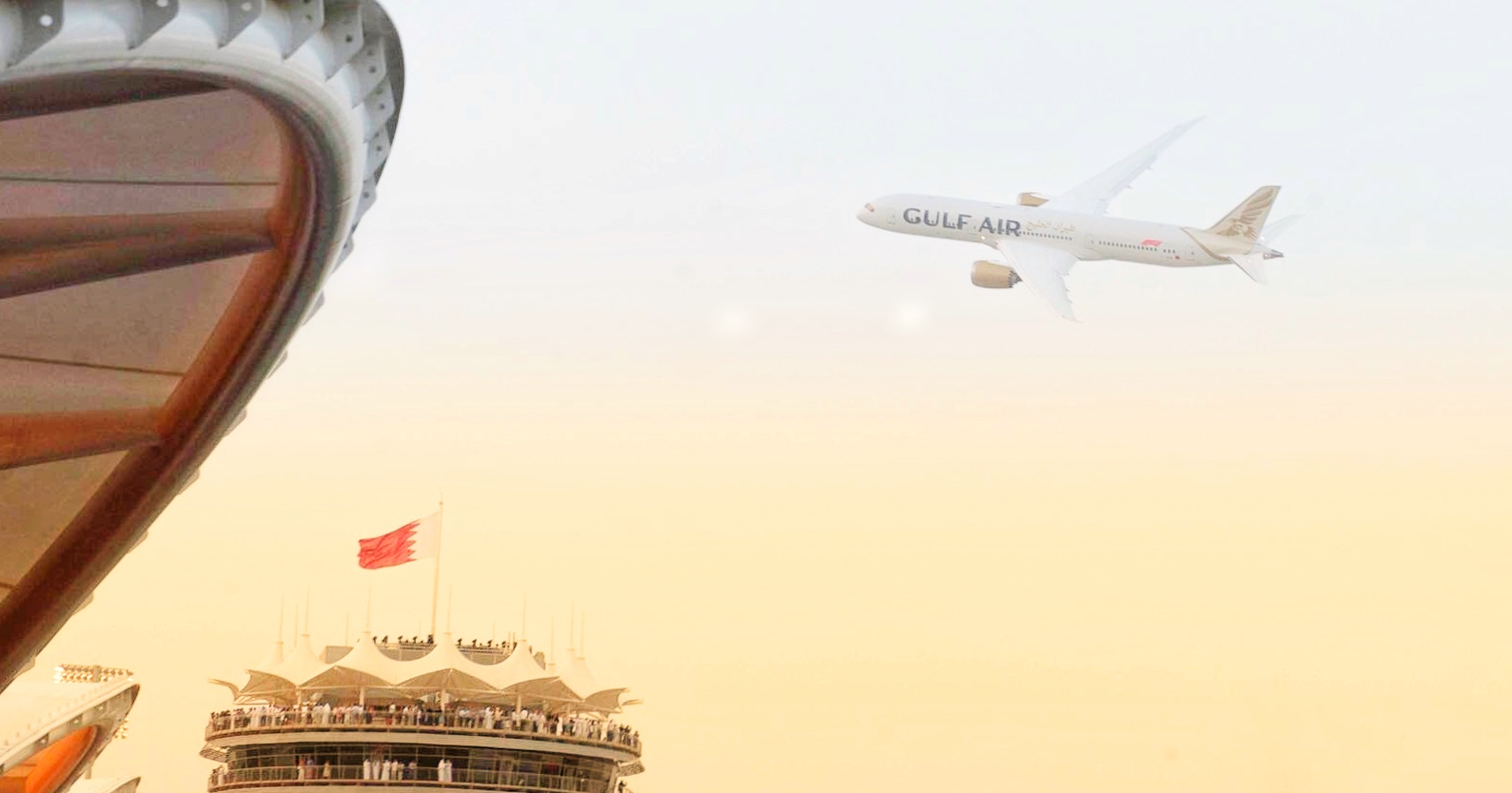 gulf air first dreamliner takes to the skies at the bahrain